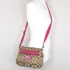 Coach Poppy Canvas Pink Tan Crossbody Bag Purse